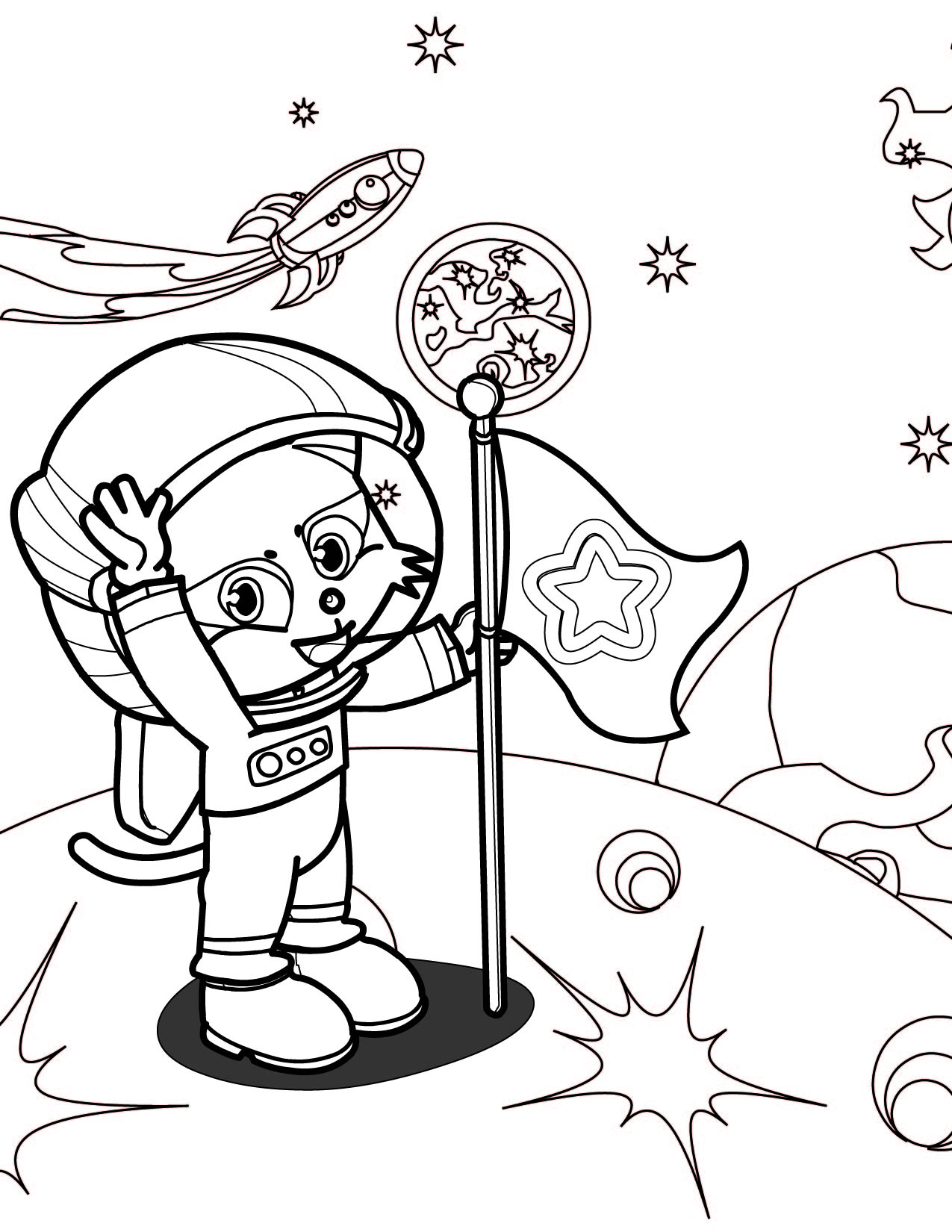 Astronaut Coloring Page Handipoints