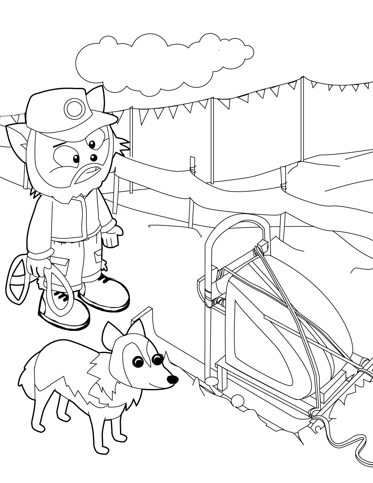 Dog Sled Racer Coloring Page