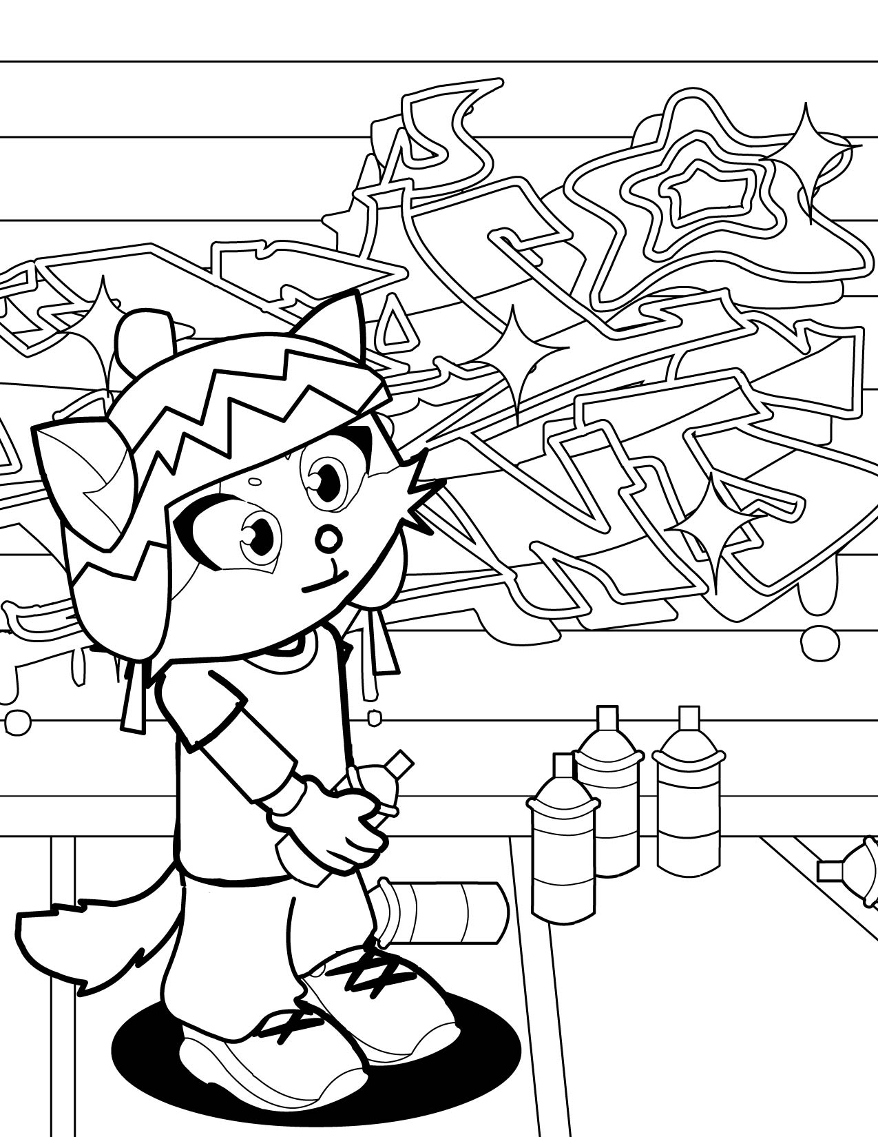 Graffiti art coloring pages - Graffiti Artist