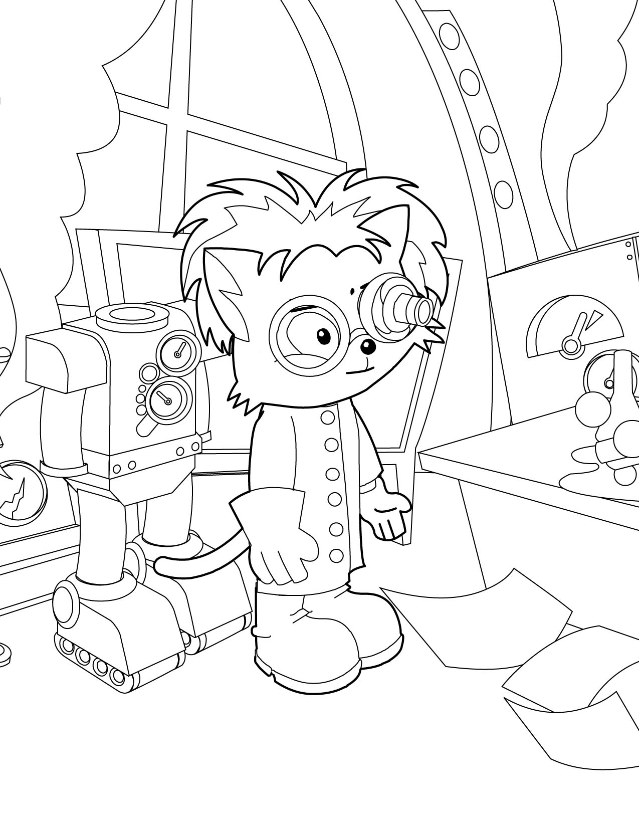 mad scientist coloring page handipoints