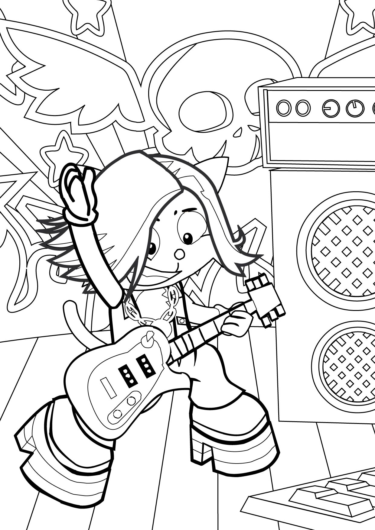 Rock Star Coloring Page - Handipoints Rock Star Coloring Pages