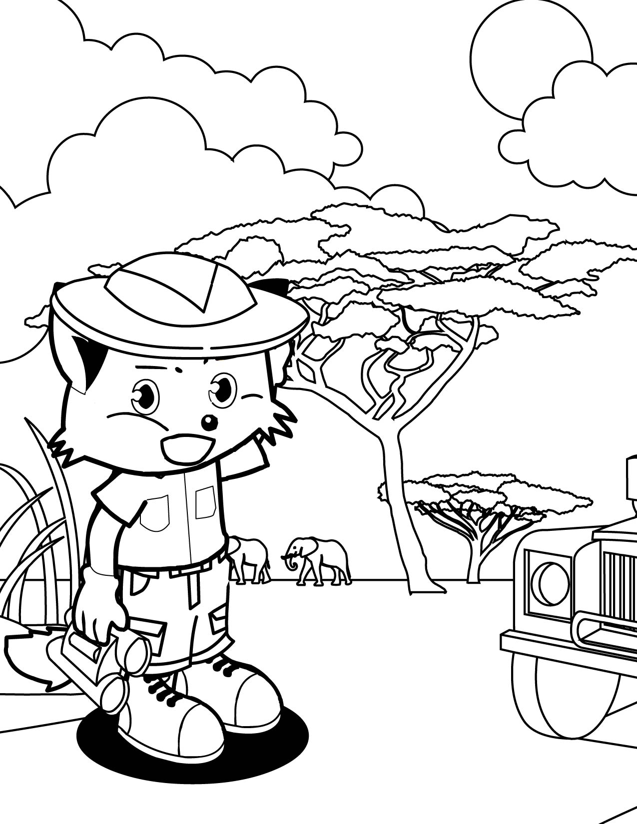 Safari Coloring Page - Handipoints