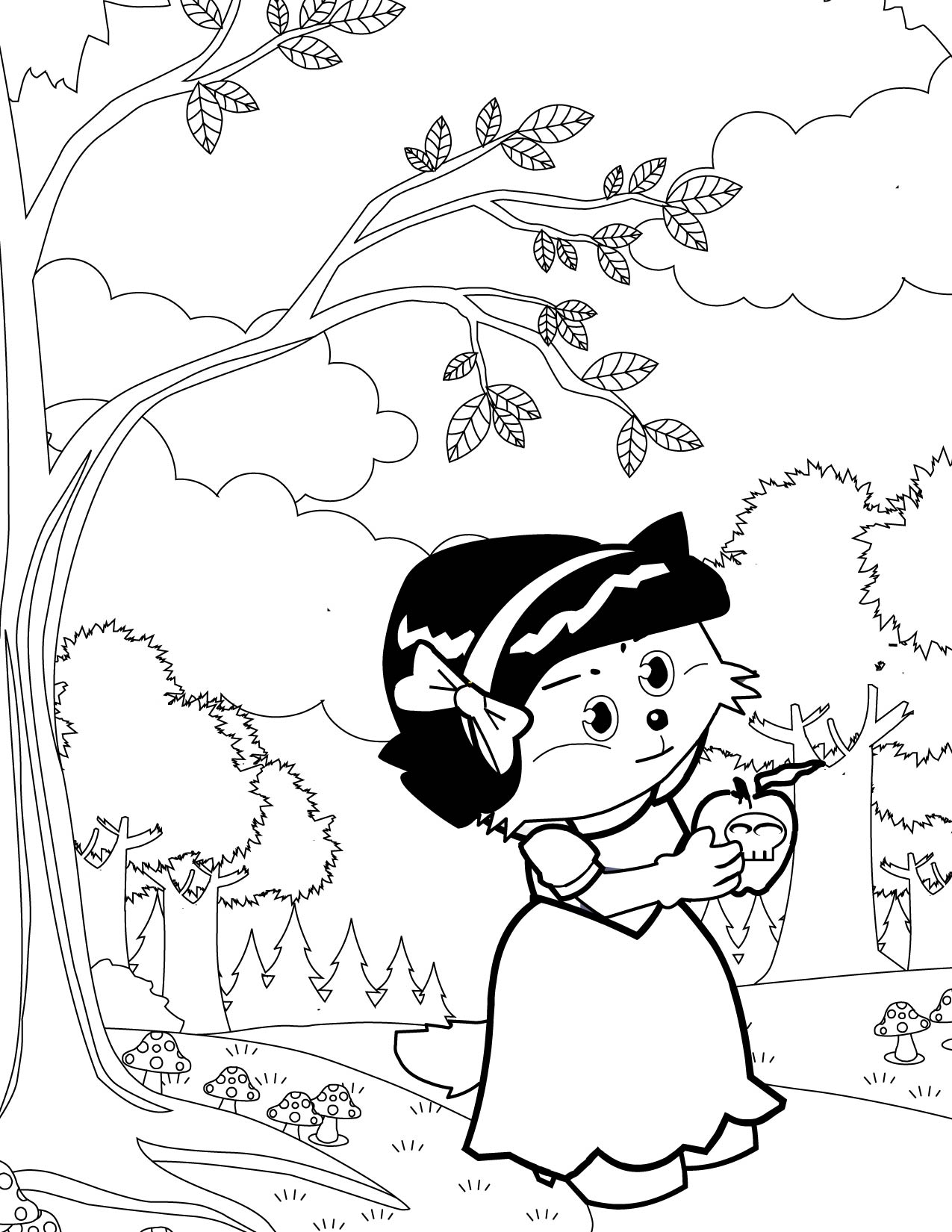 snow white coloring page handipoints