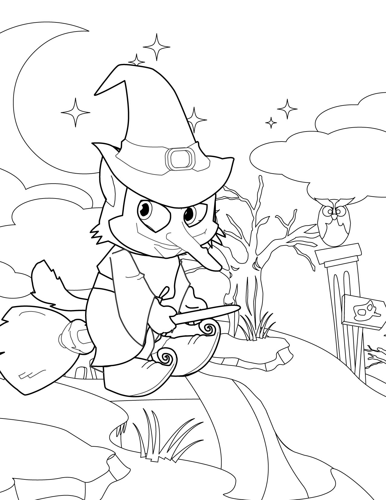 Witch Coloring Page Handipoints