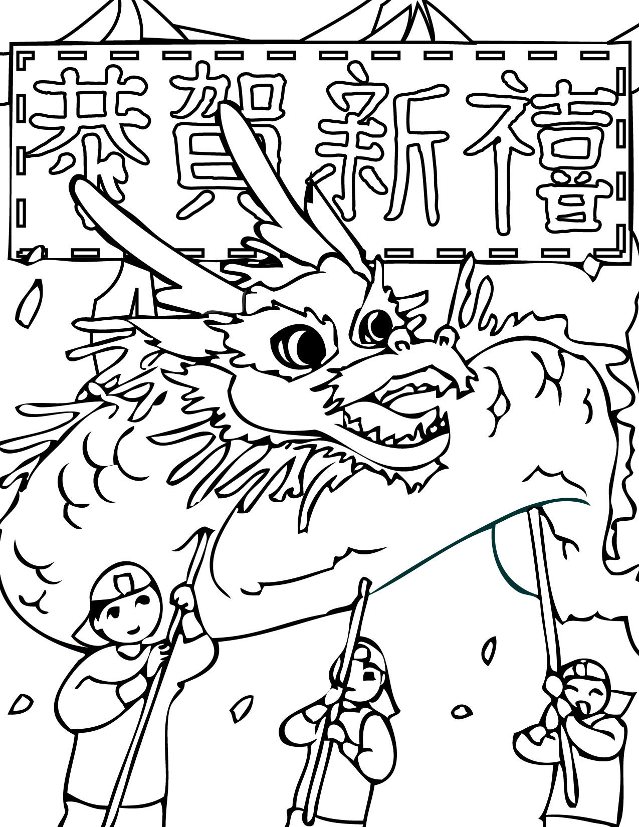 Chinese New Year Coloring Page Handipoints