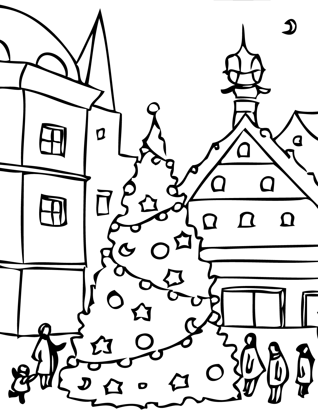 Hello Kitty Christmas Tree Coloring Page