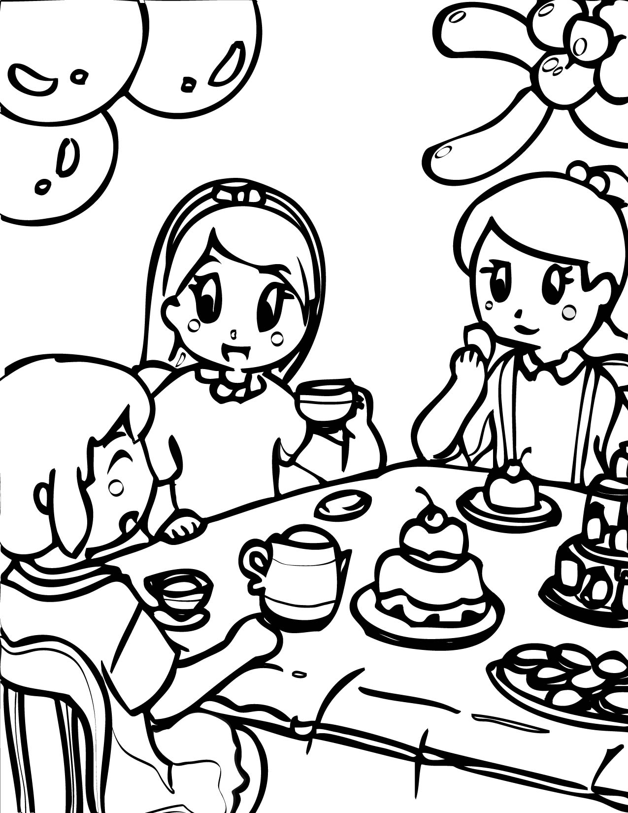 tea party tea party coloring page - Princess Tea Party Coloring Pages