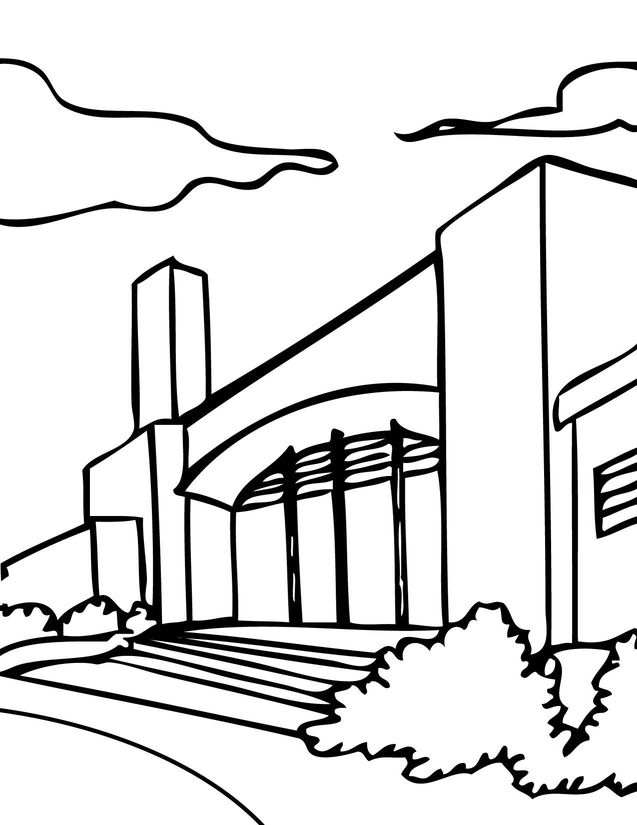 School coloring page - School