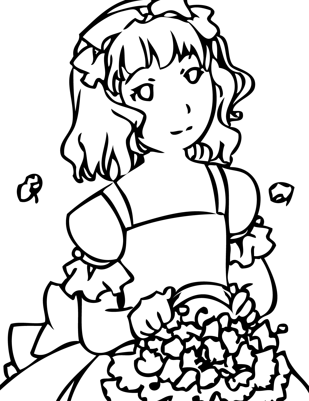 girls planting flowers coloring pages - photo#9