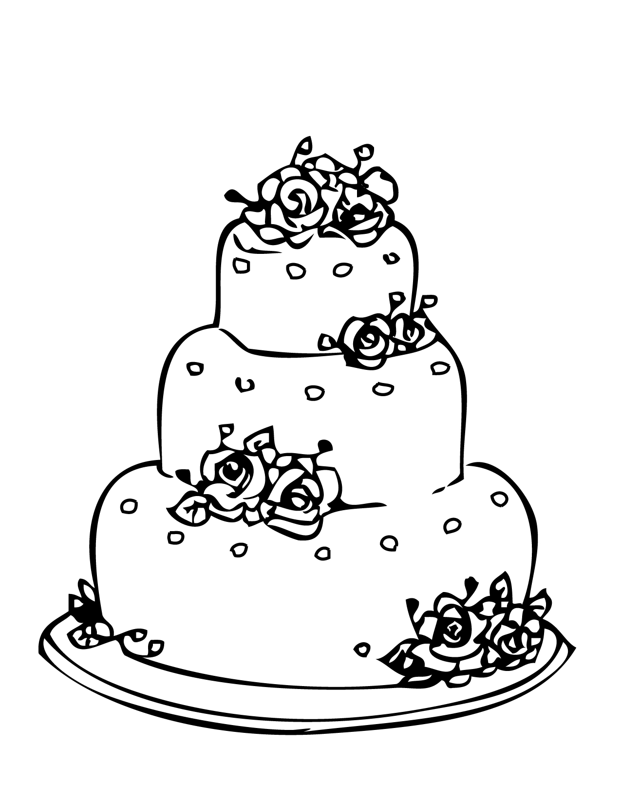 Wedding cake Coloring Page Handipoints