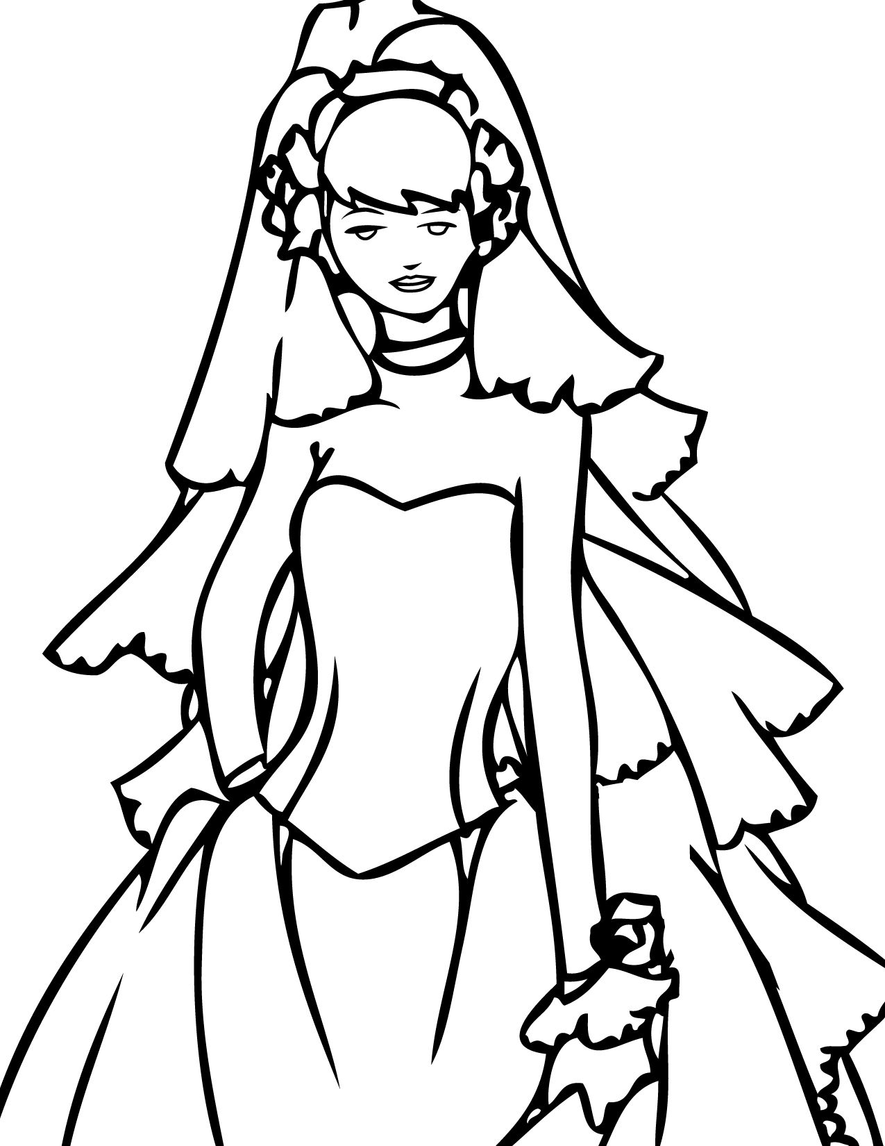 wedding dress coloring page handipoints