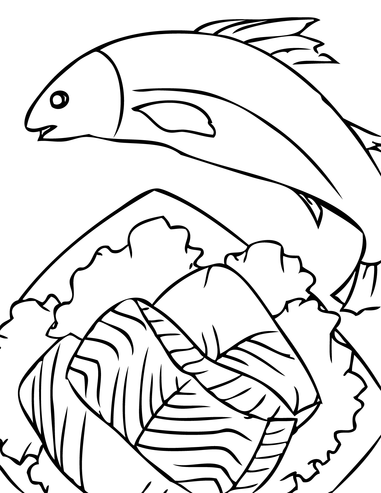 salmon coloring page handipoints