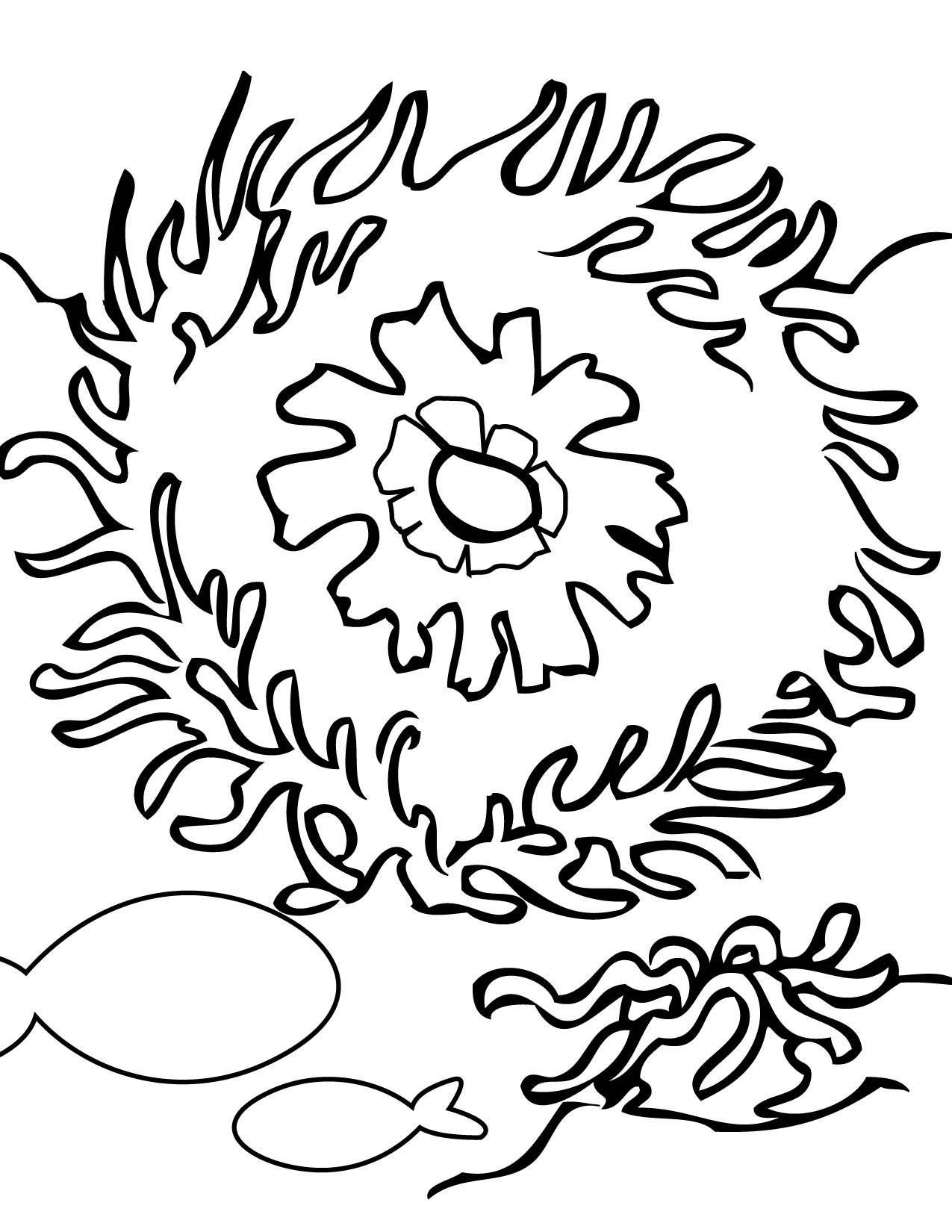 coral reefs coloring pages coloring pages fish eating anemone - Coral Reef Coloring Pages Kids