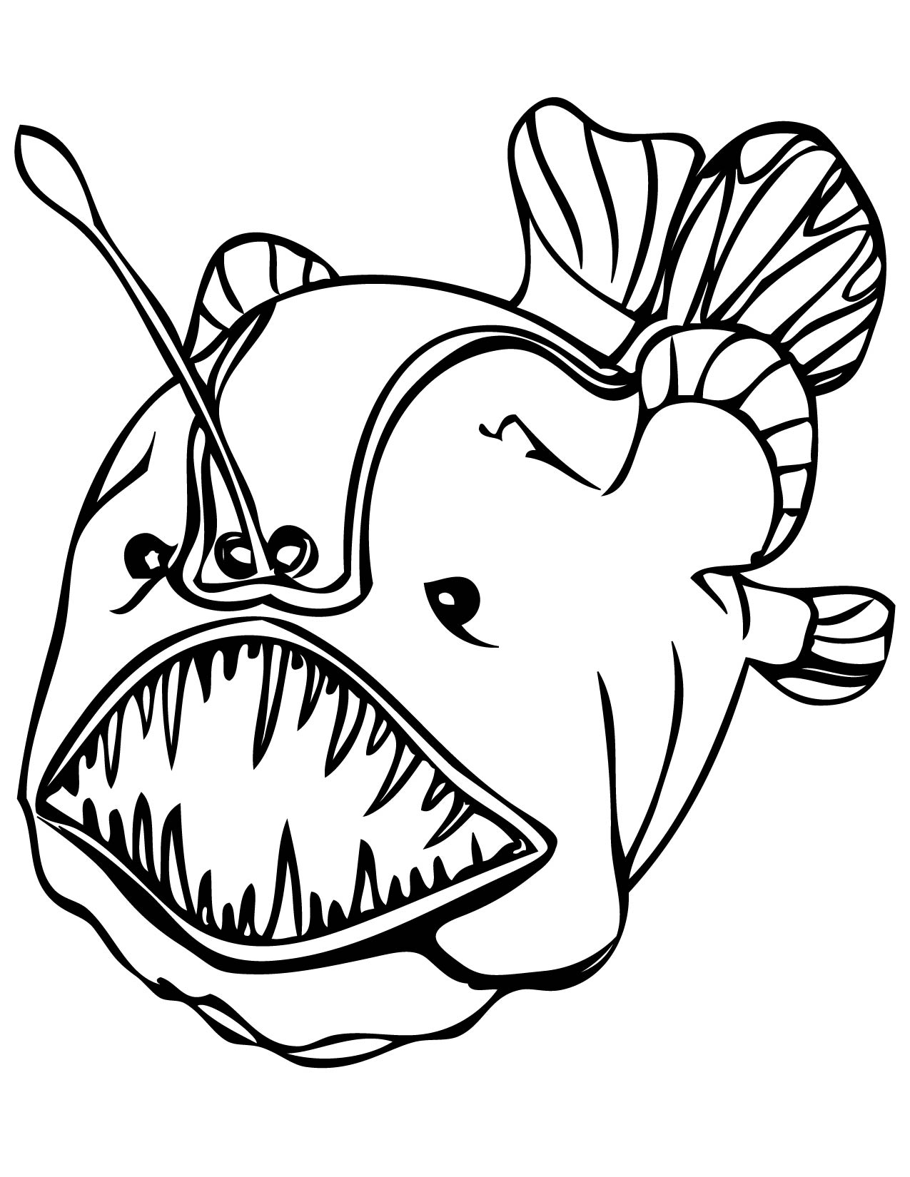 fanfin anglerfish coloring page handipoints