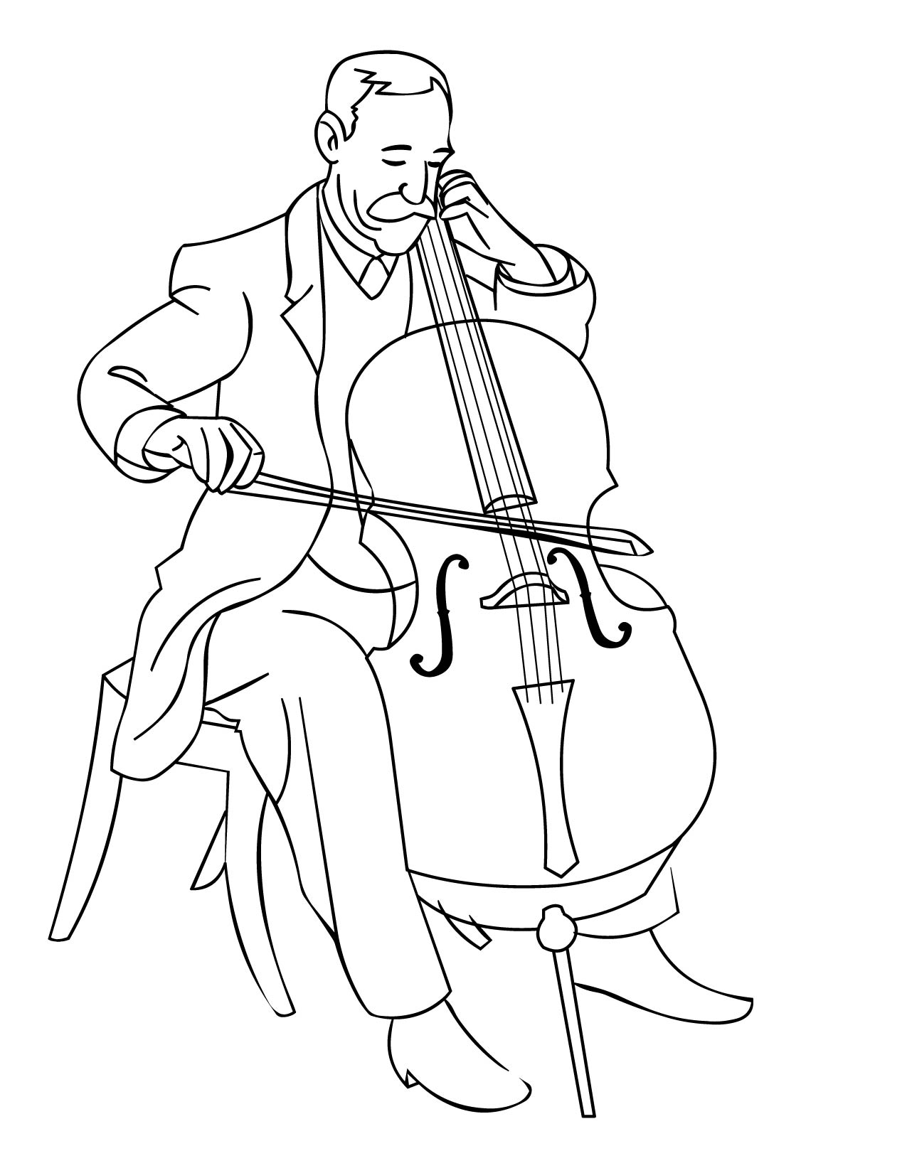 cello coloring page handipoints