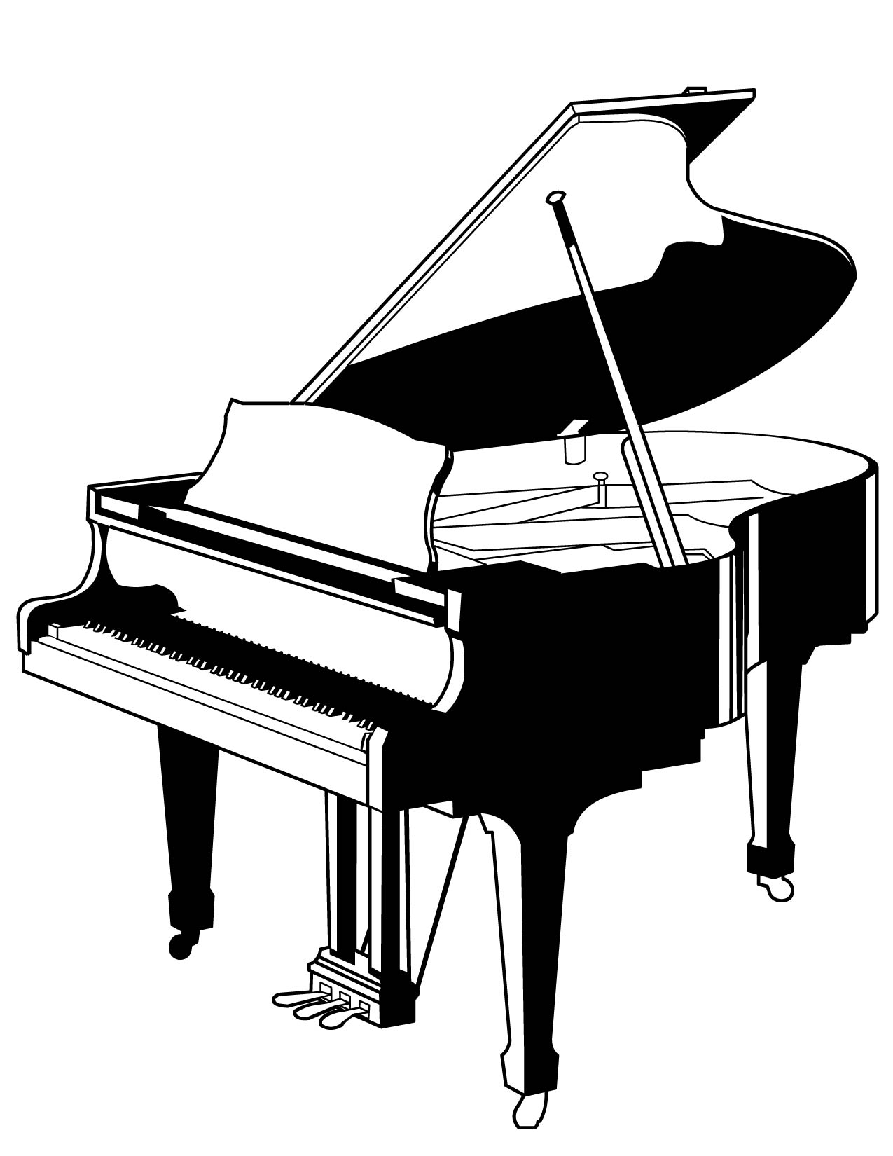 Piano Coloring Page Handipoints