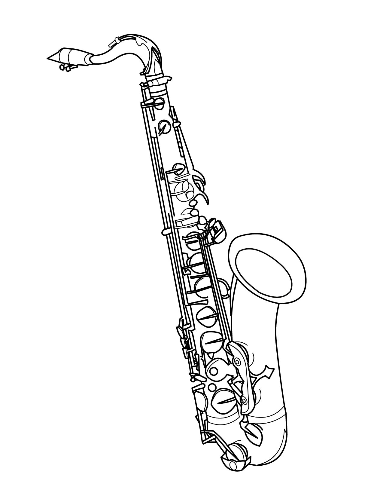 saxophone coloring page handipoints