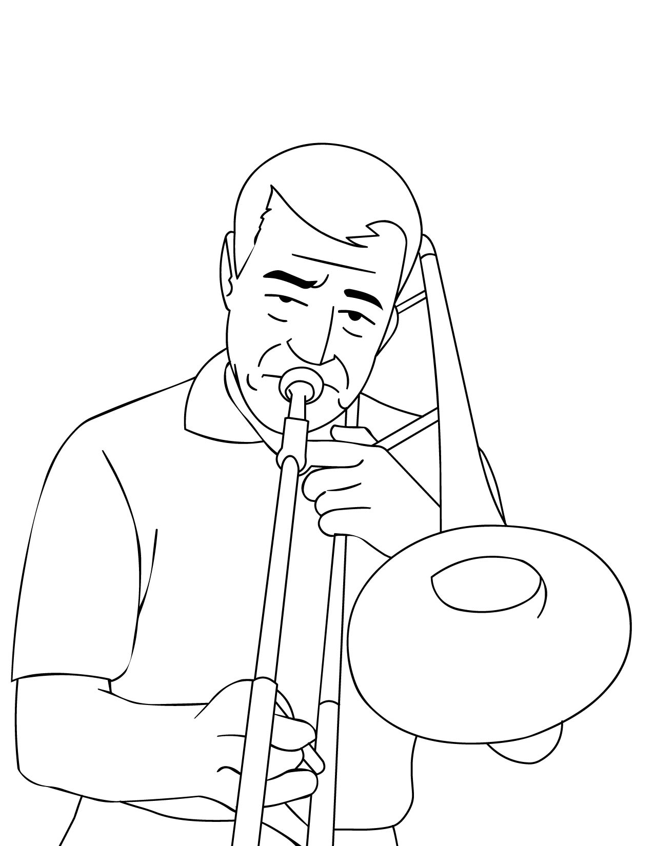 Trombone Coloring Page - Handipoints