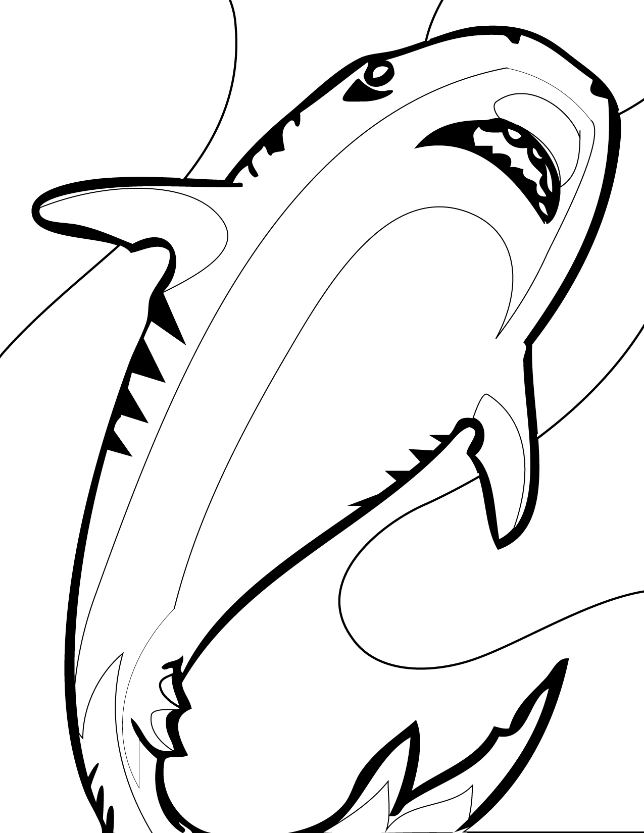 Uncategorized Hammerhead Shark Coloring Pages tiger shark coloring page handipoints shark