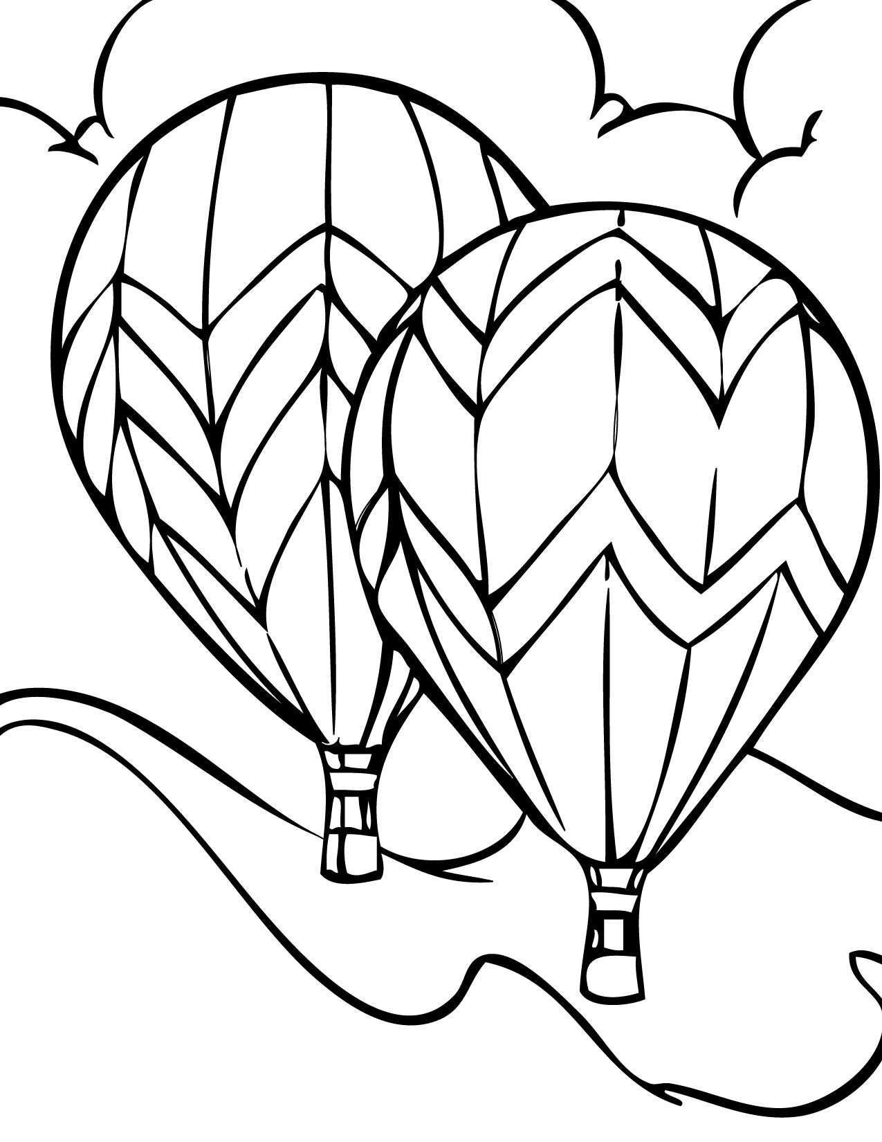Hot air balloon Coloring Page Handipoints